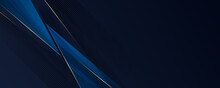 Abstract Template Dark Blue Luxury Premium Banner Background With Luxury Triangles Pattern And Gold Lighting Lines