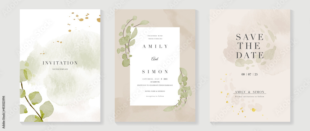 Luxury wedding invitation card background  with golden line art flower and botanical leaves, Organic shapes, Watercolor. Abstract art background vector design for wedding and vip cover template.  - obrazy, fototapety, plakaty