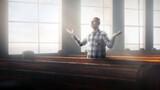 Fototapeta Natura - Man alone in church