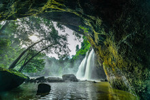 Heo Suwat Waterfall In Tropical Forest At Khao Yai National Park, Thailand.
