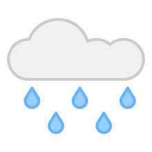 Cloud With Raindrops, Icon Of Rainfall