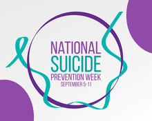 National Suicide Prevention Week Concept. Banner For September 5-11 With Teal And Purple Ribbon Awareness And Text.  Vector Illustration.