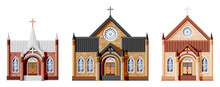Exterior Of Catholic Or Protestant Church Set. Collection Of Small Cathedral In Gothic Style. Chapel With Tower With Cross Isolated. Suburb Or Village Church Concept. Flat Vector Illustration