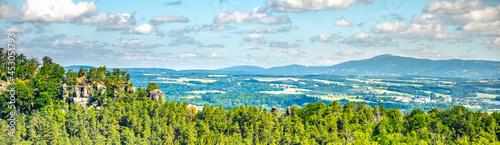 Fotografie, Obraz Prihrazy Rocks, Czech: Prihrazske skaly, on sunny summer day