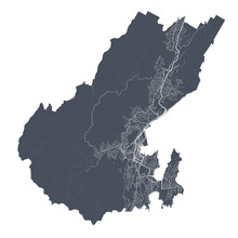 Wellington Map. Detailed Black Map Of Wellington City Poster With Streets. Cityscape Vector.