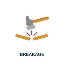 Breakage Flat Icon. Simple Sign From Logistics Collection. Creative Breakage Icon Illustration For Web Design, Infographics And More