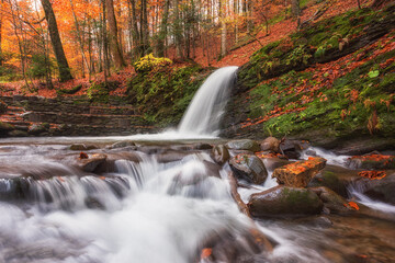 Amazing nature landscape with mountain creek in the colorful autumn forest, natural outdoor travel background suitable for wallpaper, Carpathian mountains, Lumshory, Zakarpattia
