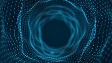 Technology Wireframe Tunnel On Dark Background. Futuristic 3D Grid. Digital Dynamic Wave. 3D Rendering.