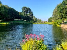 View Of The Pond In The Rosensteinpark In Stuttgart On A Sunny Summer Day