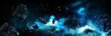 Asteroids in space banner / Illustration horizontal space banner with asteroids. Digital painting