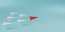 Red Paper Plane In Front Of White Paper Plane On Blue Background For Leadership Concept By 3d Render.