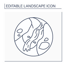 Ravine Line Icon. Narrow, Steep Depression Formed By Running Water. Gorge With Steep Sides.Landscape Concept.Isolated Vector Illustration. Editable Stroke