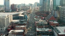 Aerial Truck Shot Of Broadway In Nashville, TN. Music City. Country Music Capital Of USA.