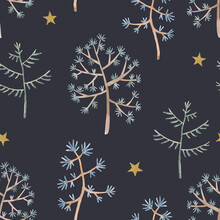 Beautiful Winter Seamless Pattern With Hand Drawn Watercolor Cute Trees. Stock Illustration.