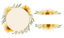 Watercolor Sunflower Frames