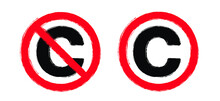 Copyright Free, Without Legal Recognition. Drawing C Or ©; Symbol. Cartoon No Copyright Icon. Free To Use In The Public Domain. Non Copyrighted Pictogram. Flat Vector Sign