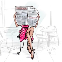 Fashion Girl Reading Newspaper In Cafe, Red Polka Dot Dress, Legs Crossed Woman