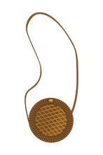 Round Wicker Womens Bag In Brown Color Isolate On White Background