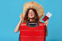 Woman With Red Suitcase Sitting On The Floor Passport And Plane Tickets Lifestyle