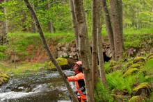 Female Lumberjack Working In Forest