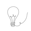 Light Bulb in Continuous Line Drawing. Sketchy idea Concept. Outline Simple Artwork with Editable Stroke. Vector Illustration.