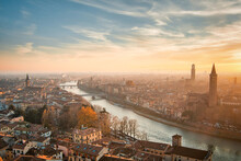 Top View Of Verona City At Sunset In Italy