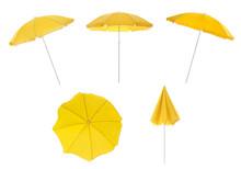 Set With Yellow Beach Umbrellas On White Background