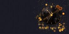 Christmas Shiny Black Background, New Year, Black Box, Clock,gold Bow, Flying Confetti, Clock, Sparkles, Tinsel, Balls, Toys, Ball, Garland Illumination, 3D Rendering,