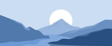 3440 X 1440 Snow Covered Mountain In Minimal Style Landscape Vector Illustration.