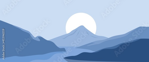 Obraz na plátně 3440 x 1440 Snow covered mountain in minimal style landscape vector illustration
