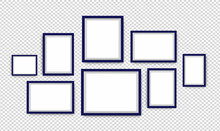 Photo Frame Background. Vector Isolated Picture Frame Mockup With Shadow On Transparent Background. Poster Frame Mockup Background. Stock Vector Illustration.