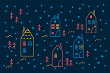 An Illustration With Colored Tiny Houses And Christmas Trees. Beautiful Linear Background Of A House, Pine Trees, Trees In A Circle Of Doodle. Vector Cute Houses In Winter For A Poster. Vector