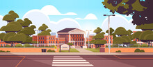 School Building Empty Front Yard With Green Trees Road Crosswalk Summer Cityscape Background