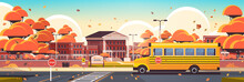 School Building Empty Front Yard With Trees Road Crosswalk And School Bus Autumn Cityscape