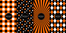 Halloween Digital Paper. Abstract Geometric Buffalo Check And Gingham Pattern Set. Orange, Black, White, Star, Burst, Diamond. Endless Texture With For Decorative Paper, Fabric.