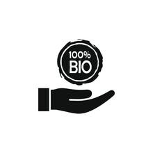 100 Percent Bio Logo Label On Hand Flat Style Isolated On White Background. Vector Illustration