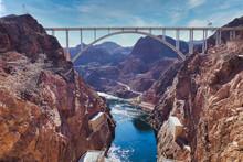 The Mike O'Callaghan–Pat Tillman Memorial Bridge Over The Colorado River At The Hoover Dam, Nevada, USA