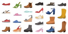 Shoes. Mens, Womens And Childrens Footwear Different Types, Trendy Casual, Stylish Elegant Glamour And Formal Shoes Cartoon Vector Set