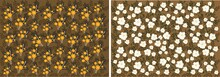 Set Of Seamless Floral Patterns. Beautiful Orange And White Flowers With Leaves On Brown Background. Design Element With Field Daisies For Printing On Fabric And Paper. Cartoon Flat Vector Collection