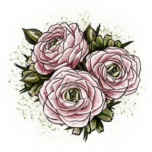 Delicate And Romantic Pink Bouquet Of Ranunculus Flowers On A Green Graphic Background Made Of Dots And Splashes