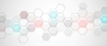 Technological Abstract Background. Design Of Geometric Shapes. Neon Glow. The Texture Of The Hexagon. Medical, Technology, Business, Industry Background. Vector Illustration