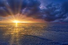 Sunset Over The Bonneville Salt Flats Background