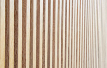 New Wooden Residential Back Yard Garden Fence Which Is Usually Made Of Pine Or Larch Wood, Stock Photo Image