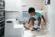 Black Boy, Potty Training Time At Home, Playing With Toy Truck