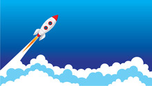 Rocket Spaceship Flying Up To The Space Vector Illustration. In The Blue Sky Go Through The Clouds.