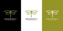 Dragonfly Logo Vector Design Line Style
