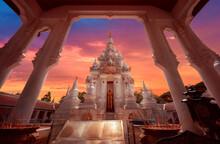 Old Pagoda Stupa At Wat Phra Borommathat Chaiya Worawihan With Beautiful Twilight Sunset Sky.
