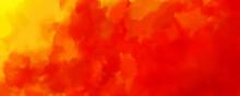 暖かいオレンジと赤の水彩背景画像/ ハロウィーンカラー - Red Orange Background With Watercolor, Colorful Textured Paper In Bright Autumn