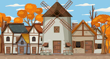 Medieval Village Scene With Windmill And Houses