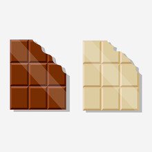Chocolate Bar Broke, Vector Illustration Isolated Design